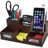 Victor Wood Desk Organizer with Smart Phone Holder; Mocha Brown