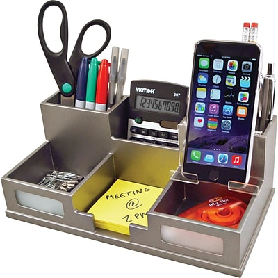 Victor® Wood Desk Organizer with Smart Phone Holder; Classic Silver