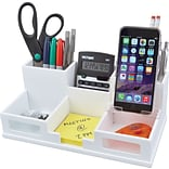 Victor Wood Desk Organizer with Smart Phone Holder; White