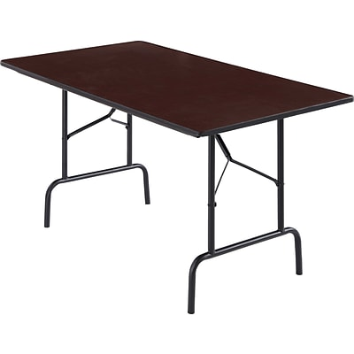 Rectangle Melamine Wood Folding Table, Walnut, 29.5H x 30W x 72L
