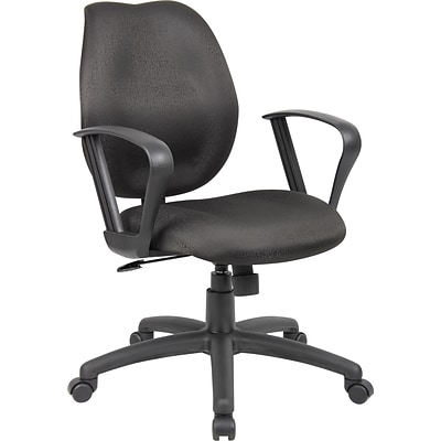 Boss® Fabric Task Chair w/ Loop Arms; Black
