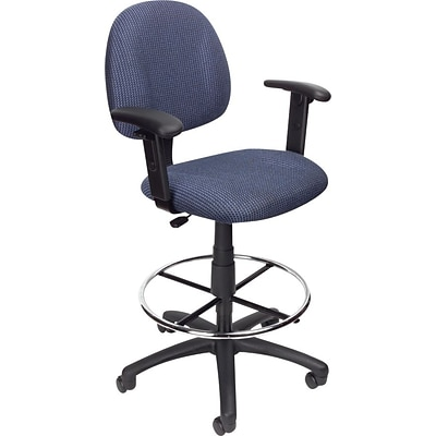 Boss® Drafting Stool w/ Adjustable Arms and Footring; Blue