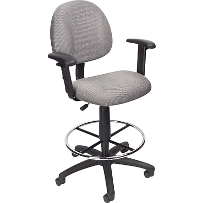 Boss® Drafting Stool w/ Adjustable Arms and Footring; Gray