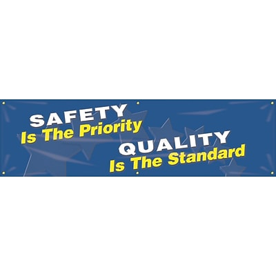 ACCUFORM SIGNS® Motivational Banner, SAFETY IS THE PRIORITY QUALITY IS THE STANDARD, 28x8, Vinyl