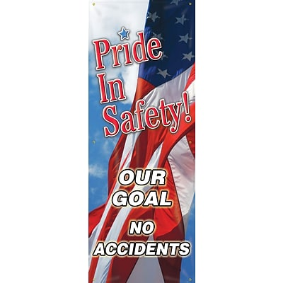 ACCUFORM SIGNS® Vertical Banner, PRIDE IN SAFETY! OUR GOAL NO ACCIDENTS, Double-Sided, 74x28 Vinyl