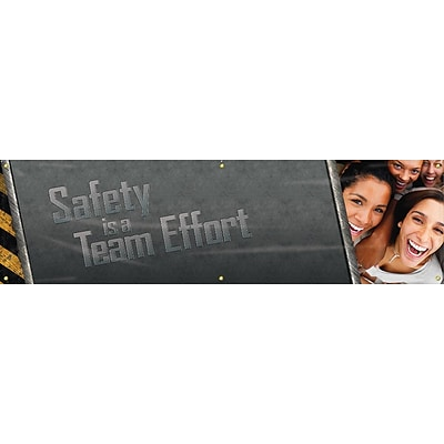 ACCUFORM SIGNS® Motivational Campaign Kick-Off Banner, SAFETY IS A TEAM EFFORT, 28x8, Vinyl