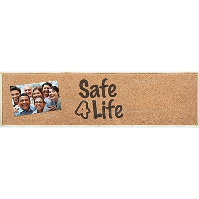 ACCUFORM SIGNS® Motivational Campaign Kick-Off Banner, SAFE 4 LIFE, 28 x 8, Reinforced Vinyl, Kit