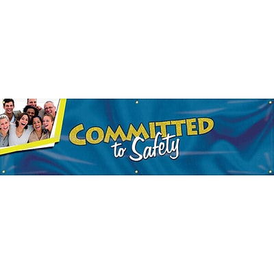 ACCUFORM SIGNS® Motivational Campaign Kick-Off Banner, COMMITTED TO SAFETY, 28x8, Reinforced Vinyl