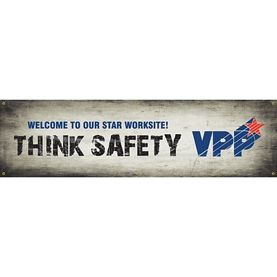 ACCUFORM SIGNS® Motivational VPP Banner, WELCOME TO OUR STAR WORKSITE! THINK SAFETY, 28x8, Vinyl