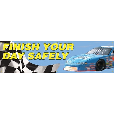 ACCUFORM SIGNS® Motivational Safety Banner, FINISH YOUR DAY SAFELY, 28 x 8-ft, Reinforced Vinyl