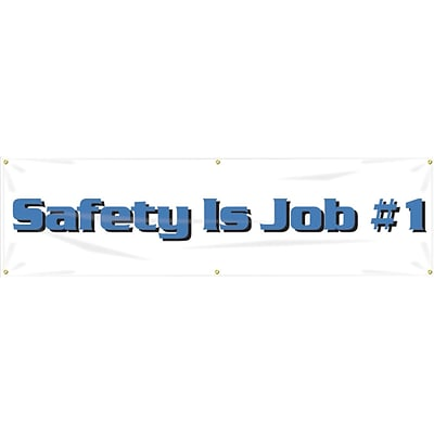 ACCUFORM SIGNS® Motivational Safety Banner, SAFETY IS JOB #1, 28 x 8-ft, Reinforced Vinyl, Each