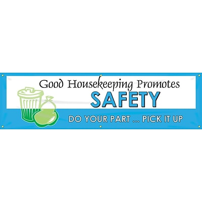 ACCUFORM SIGNS® Motivational Banner, GOOD HOUSEKEEPING PROMOTES SAFETY, 28x8, Reinforced Vinyl (MBR981)