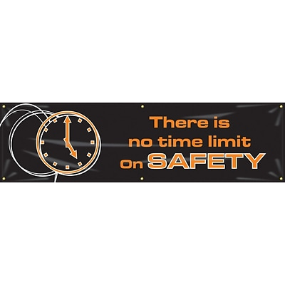 ACCUFORM SIGNS® Motivational Banner, THERE IS NO TIME LIMIT ON SAFETY, 28x8, Reinforced Vinyl