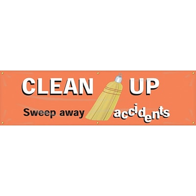 ACCUFORM SIGNS® Motivational Safety Banner, CLEAN UP-SWEEP AWAY ACCIDENTS, 28x8, Reinforced Vinyl