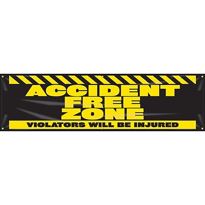 ACCUFORM SIGNS® Motivational Banner, ACCIDENT FREE ZONE-VIOLATORS WILL BE INJURED, 28x8, Vinyl