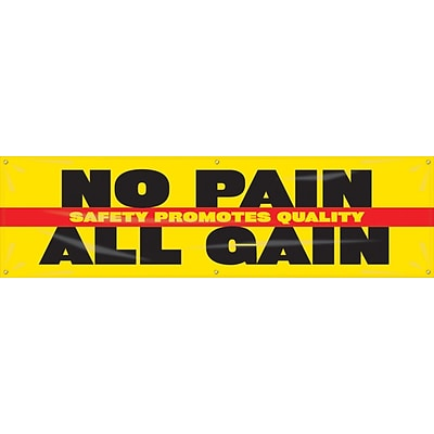 ACCUFORM SIGNS® Motivational Banner, SAFETY PROMOTES QUALITY-NO PAIN ALL GAIN, 28x8, Vinyl