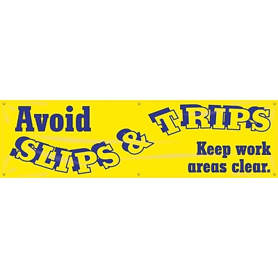ACCUFORM SIGNS® Motivational Banner, AVOID SLIPS & TRIPS-KEEP WORK AREAS CLEAR, 28x8, Vinyl