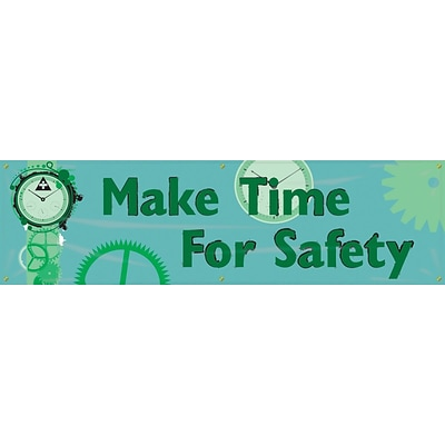 ACCUFORM SIGNS® Motivational Safety Banner, MAKE TIME FOR SAFETY, 28 x 8-ft, Reinforced Vinyl, Each