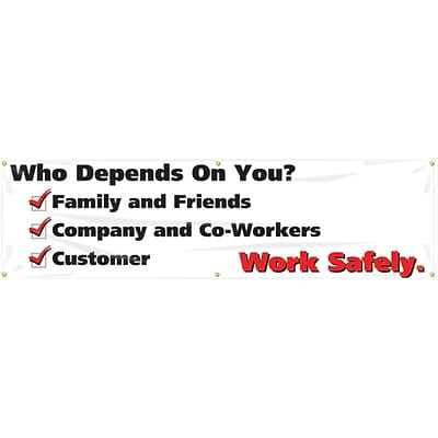 Accuform Signs® Motivational Safety Banner, WHO DEPENDS ON YOU? WORK SAFELY, 28 x 8-ft, Reinforced Vinyl, Each (MBR828)