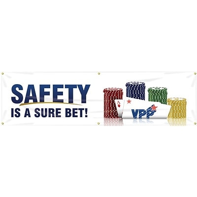 ACCUFORM SIGNS® Motivational VPP Safety Banner, SAFETY IS A SURE BET!, 28 x 8-ft, Reinforced Vinyl