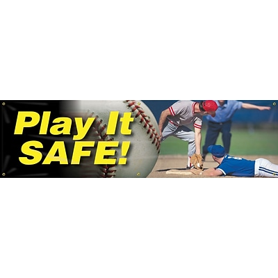 ACCUFORM SIGNS® Motivational Safety Banner, PLAY IT SAFE!, 28 x 8-ft, Reinforced Vinyl, Each