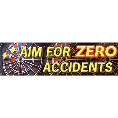 ACCUFORM SIGNS® Motivational Safety Banner, AIM FOR ZERO ACCIDENTS, 28 x 8-ft, Reinforced Vinyl