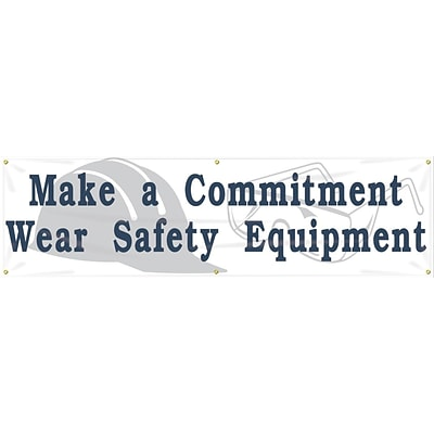 ACCUFORM SIGNS® Motivational Banner, MAKE A COMMITMENT WEAR SAFETY EQUIPMENT, 28x8, Vinyl