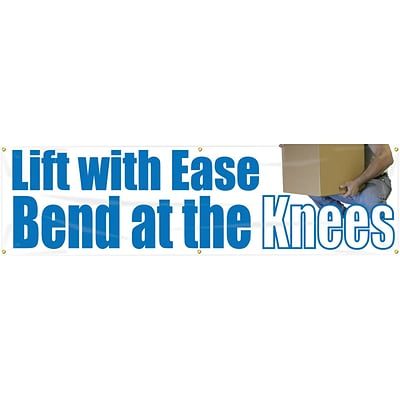 ACCUFORM SIGNS® Motivational Banner, LIFT WITH EASE BEND AT THE KNEES, 28x8, Reinforced Vinyl