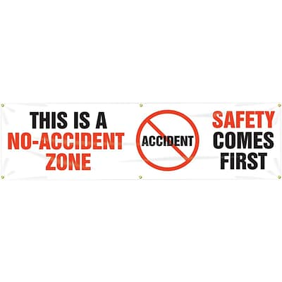 ACCUFORM SIGNS® Motivational Banner, THIS IS A NO-ACCIDENT ZONE-SAFETY FIRST, 28x8, Vinyl