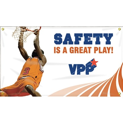 Accuform Signs® Motivational VPP Safety Banner, SAFETY IS A GREAT PLAY!, 28 x 4-ft, Reinforced Vinyl, Each (MBR472)