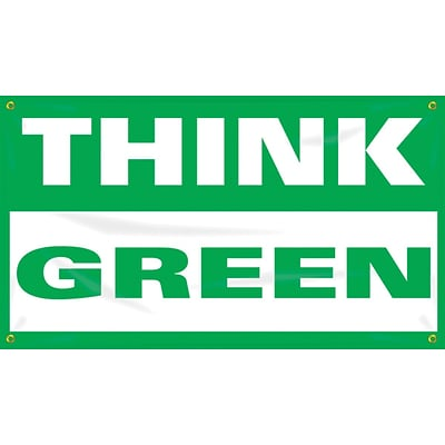 Accuform Signs® Motivational Safety Banner, THINK GREEN, 28 x 4-ft, Reinforced Vinyl, Each (MBR464)