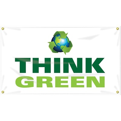 Accuform Signs® Motivational Safety Banner, THINK GREEN, 28 x 4-ft, Reinforced Vinyl, Each (MBR461)