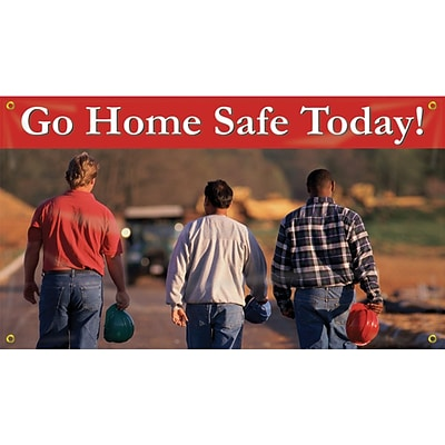 ACCUFORM SIGNS® Motivational Safety Banner, GO HOME SAFE TODAY!, 28 x 4-ft, Reinforced Vinyl, Each