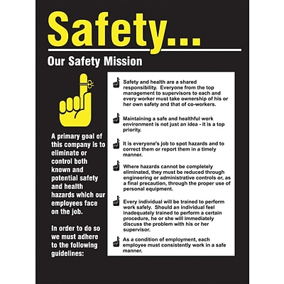 ACCUFORM SIGNS® Safety Poster, SAFETY...OUR SAFETY MISSION, 12 x 9, Laminated Flexible Plastic