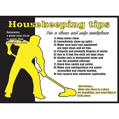 ACCUFORM SIGNS® Poster, HOUSEKEEPING TIPS FOR A CLEAN, SAFE WORKPLACE 20x32 Laminated Flex Plastic