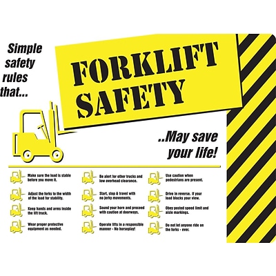 ACCUFORM SIGNS® Safety Poster, FORKLIFT SAFETY, 20 x 32, Laminated Flexible Plastic, Each