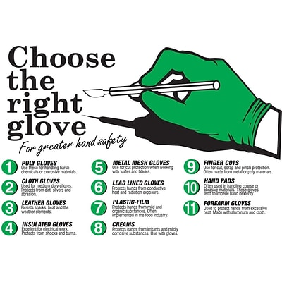 ACCUFORM SIGNS® Safety Poster, CHOOSE THE RIGHT GLOVE, 20 x 32, Laminated Flexible Plastic, Each