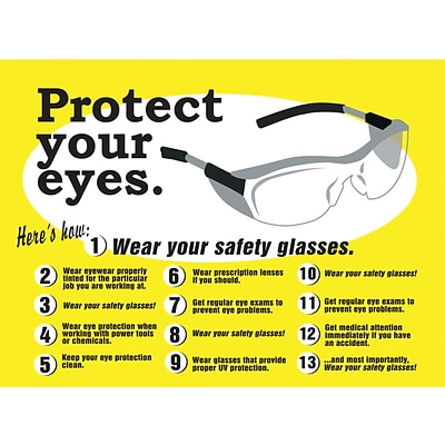 ACCUFORM SIGNS® Safety Poster, PROTECT YOUR EYES, 20 x 32, Laminated Flexible Plastic, Each