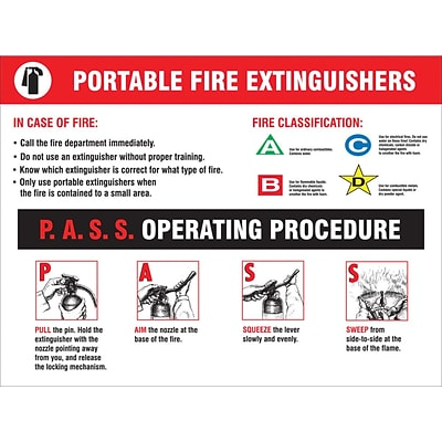 ACCUFORM SIGNS® Safety Poster, PORTABLE FIRE EXTINGUISHERS, 20 x 32, Laminated Flexible Plastic