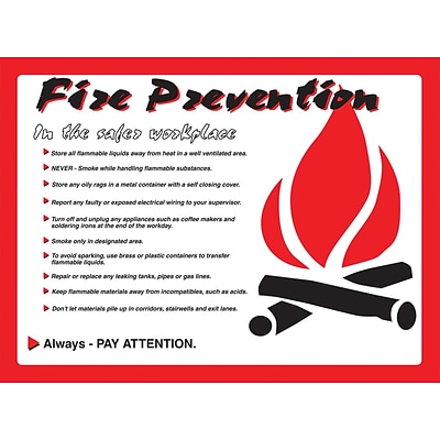 ACCUFORM SIGNS® Safety Poster, FIRE PREVENTION IN SAFER WORKPLACE, 20x32, Laminated Flex Plastic