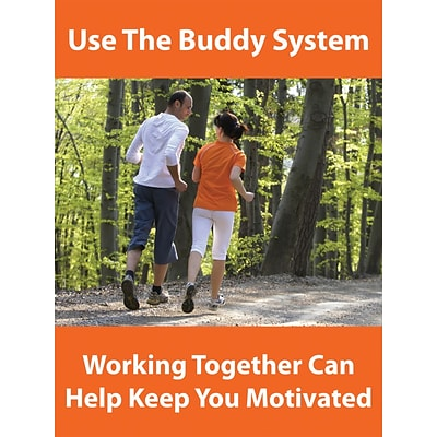 ACCUFORM SIGNS® WorkHealthy™ Poster, USE THE BUDDY SYSTEM, 24 x 18, Laminated Flexible Plastic