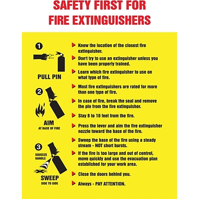 ACCUFORM SIGNS® Safety Poster, SAFETY FIRST FOR FIRE EXTINGUISHERS, 24x18, Laminated Flex Plastic