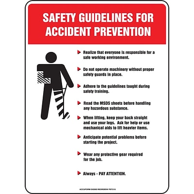 ACCUFORM SIGNS® Poster, GUIDELINES FOR ACCIDENT PREVENTION, 24x18, Laminated Flex Plastic