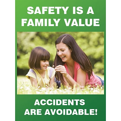 Accuform Signs® Safety Poster, SAFETY IS A FAMILY VALUE, 24 x 18, Laminated Flexible Plastic, Each (PST160)