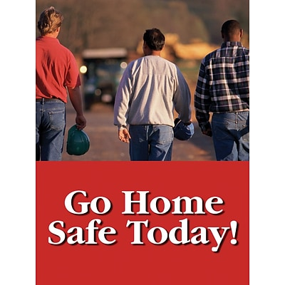 Accuform Signs® Safety Poster, GO HOME SAFE TODAY!, 24 x 18, Laminated Flexible Plastic, Each (PST137)
