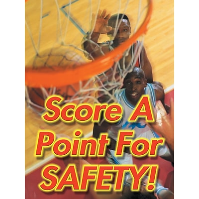 ACCUFORM SIGNS® Safety Poster, SCORE A POINT FOR SAFETY!, 24 x 18, Laminated Flexible Plastic, Ea.