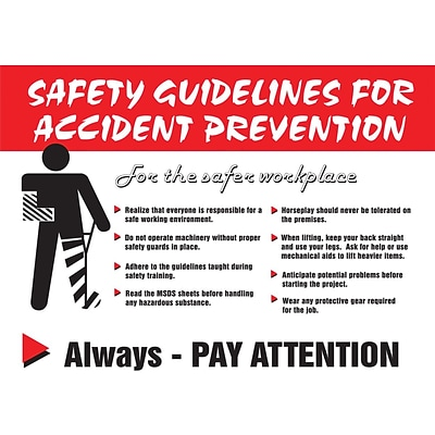 ACCUFORM SIGNS® Poster, GUIDELINES FOR ACCIDENT PREVENTION, 18x24, Laminated Flex Plastic