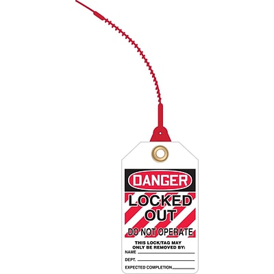 ACCUFORM SIGNS® Loop n Lock™ Tie Tags, DANGER LOCKED OUT DO NOT OPERATE, RP-Plastic, 10/Pk