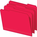 Colored File Folders, Letter, 3 Tab, Red, 100/Box