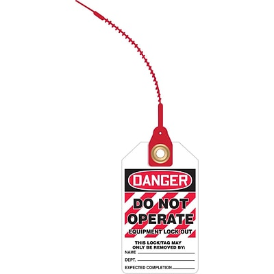 ACCUFORM SIGNS® Loop n Lock™ Tie Tags, DANGER DO NOT OPERATE EQUIPMENT LOCK OUT, RP-Plastic, 10/Pk
